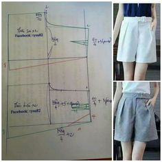 Sewing pants pattern costura Ideas for 2020 Sewing Shorts, Sewing Clothes, Diy Clothes, Dress Sewing Patterns, Sewing Patterns Free, Clothing Patterns, Fashion Sewing, Diy Fashion, Do It Yourself Fashion