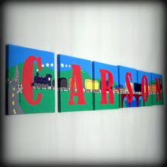 Childrens Names Personalized Letters 8x10 Room Decor, transportation