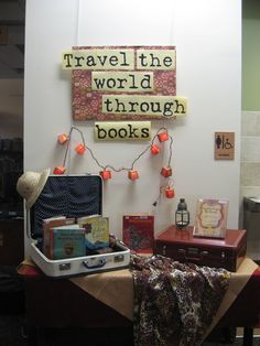 I'm drawn to clever displays that capture the imagination - this photo certainly does that for me. I'd love to incorporate rotating displays in my school library. School Library Displays, Middle School Libraries, Library Themes, Elementary Library, Library Ideas, Library Decorations, School Library Decor, School Display Boards, Class Jobs Display