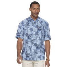 Men's Batik Bay Tropical Casual Button-Down Shirt, Size: Large, Brt Purple