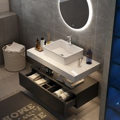 Combining an aura of minimalism and multifunctional style on a grand scale, this wall-mounted vanity set is versatile enough to fit many bathroom styles. The rectangular vessel sink is integrated on the faux marble countertop for a flawless aesthetic Floating Bathroom Vanities, Single Bathroom Vanity, Floating Vanity, Bathroom Colors, Bathroom Sets, Master Bathrooms, White Bathrooms, Bathroom Layout, Dream Bathrooms