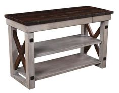 Deco River TV Stand with Reclaimed Barn Wood Top and Sides With a barn wood top and criss-cross ends, this TV stand exudes rustic appeal. Ships assembled. #DutchCrafters