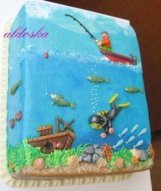 Fun sea birthday cake- I like the concept Ocean Cakes, Beach Cakes, Just Cakes, Cakes For Boys, Kid Cakes, Cupcakes, Cupcake Cakes, Nautical Cake, Summer Cakes