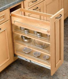 "Rev-A-Shelf 448-BC-8C - Wood 8"" (203mm) Wide Pullout Base Organizer - The Hardware Hut #kitchenremodel"