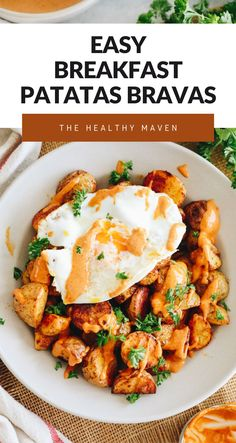 Crispy baked potatoes topped with a chipotle garlic aioli and served up fresh with a fried egg make this breakfast patatas bravas recipe an instant classic and easy weekend morning brunch recipe.