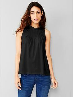 Ruffle-neck pleated tank | Gap