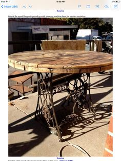 Reuse old sewing machine base and cable spool to make table
