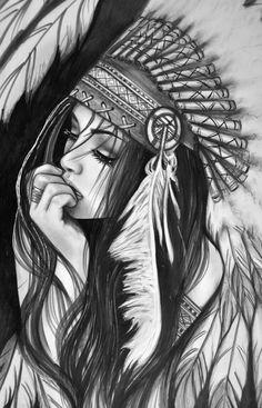 Native American Drawing, Native American Tattoos, Native American Girls, Dark Art Drawings, Art Drawings Sketches Simple, Tattoo Sketches, Tattoo Drawings, Mädchen Tattoo, Body Art Tattoos