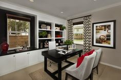 White cabinets w/black behind, dove chairs. Hadleigh at Park Place, a KB Home Community in Ontario, CA (Riverside / San Bernardino)