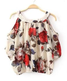 Fashionable Scoop Neck Off-The-Shoulder Floral Print Chiffon Women's Blouse