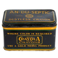 '30s Crayons in Tin Box, $199 | fab.com | my mom still has one that we were given from a friend of the family