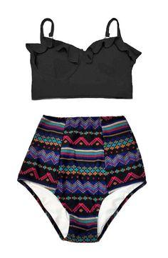 Black Midkini Top and Aztec Tribal High Waisted Waist High-waist High-waisted Bathing suit suits Swimsuit Swimwear Bikini set Two piece S M