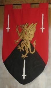 hand made medieval renaissance banners tapestries. Plantagenet, Jerusalem, Neville, FitzAlan banners?