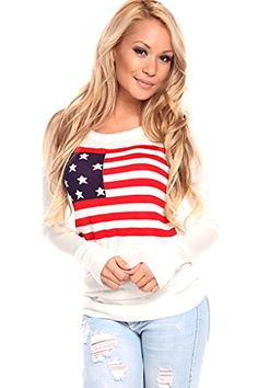 Lolli Couture AMERICAN FLAG PRINT LONG-SLEEVE PULL-OVER TOP S ivory/multi Lolli Couture