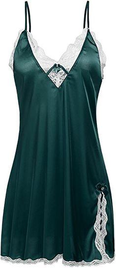 0cc9d27928f66 Ekouaer Sexy Lingerie Women s Sleepwear Satin Lace Chemise Nightgown XS-XXL  at Amazon Women s Clothing store