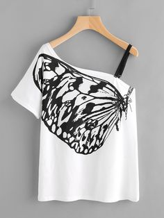 Shop Butterfly Print Oblique Shoulder Tee With Strap Detail online. SheIn offers Butterfly Print Oblique Shoulder Tee With Strap Detail & more to fit your fashionable needs. Hand Painted Dress, Painted Clothes, Cheap Boutique Clothing, Diy Clothing, Butterfly Shirts, Butterfly Print, White Butterfly, Off Shoulder T Shirt, Shoulder Tops