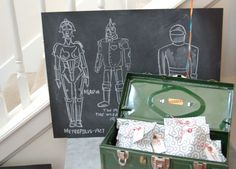 Very cute boys birthday party from Vintage Junky - love the robot drawings