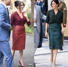 The Brick Orange Belted Midi Skirt is made of luxuriously soft vegan leather with a slight frontal slit, belted waist, midi length and A-line silhouette. Meghan Markle Stil, Rainy Day Outfit For Work, Meghan Markle Outfits, Work Fashion, Fashion Outfits, Lawyer Fashion, Princesa Kate, Queen Outfit, Pencil Skirt Outfits