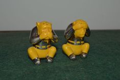 Rare pair of Art Deco Friedrich Deusch Silver 1000/1000 Overlay Canary Yellow Porcelain Salt and Pepper Shakers - Wise Monkeys