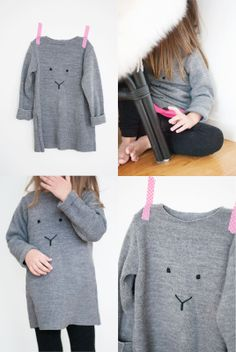 Turn the drabbest of sweatshirts into a cute li'l critterface. The 42 Definitively Cutest DIY Projects Of All Time Sewing For Kids, Diy For Kids, Crafts To Do, Diy Crafts, Couture Bb, Cute Diy Projects, Diy Vetement, Creation Couture, Cute Diys