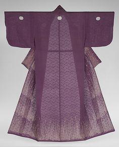 Silk 'hitoe' (unlined) kosode (proto-kimono), featuring motifs of grasses and dewdrops.  1750-1850, Japan