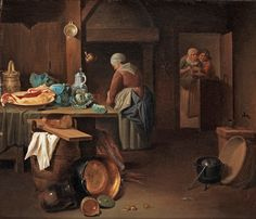 In the Kitchen, Justus Juncker (Dutch artist, 1703-1767) . http://bjws.blogspot.com/2015/09/sharing-harvest-1700s-foods-at-market.html