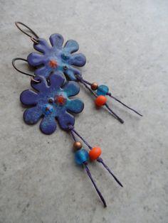 Fun & Flirty ... Enameled Copper and Waxed Linen Tassel Boho, Floral, Woodland Earrings