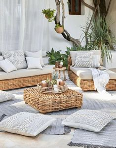 Ideas For Boho Patio Decor Backyards Ikea Outdoor, Outdoor Rooms, Outdoor Beach Decor, Outdoor Living, Beach Patio, Sunroom Furniture, Outdoor Wicker Patio Furniture, Outdoor Couch, Rattan Furniture