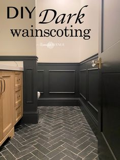 Wanna make a design statement in your home? How about installing DIY wainscoting: applied molding boxes to your powder room, dining room, or any space! Black Wainscoting, Wainscoting Styles, Bathroom With Wainscotting, Wainscoting Hallway, Hallway Walls, Bathroom Wall, Hallways, Wall Molding, Diy Molding