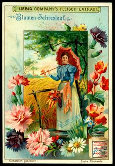 """Liebig's Beef Extract ~ The Course of Human Life ~ """"Blumen Jahreslauf"""" (Flowers in the Year) German issue, 1901 Vintage Crafts, Vintage Art, Vintage Ladies, Vintage Postcards, Vintage Images, Vintage Calendar, Retro Poster, Old Advertisements, Museum"""