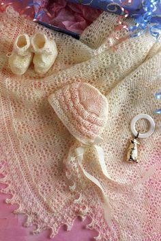 Baby Knitting Pattern  Shawl Bonnet Bootees  2 ply by carolrosa, £1.20