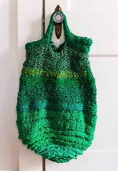 FInger Knit bag made from upcycled t-shirts from Finger Knitting Fun, by Vickie Howll