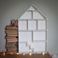 Wooden House / shelf designed as a new home for your collection of Maileg mice and bunnies.