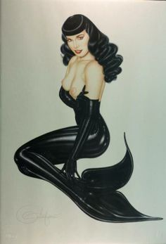 pin-up artist Olivia De Berardinis has painted a zillion gorgeous bombshells over the years (she's been doing it since the mid-70′s and has been contributing an original painting every month to Playboy Magazine since 2004), and is not averse to the occasional bombshell mermaid. Her Bettie Page in a black latex tail is one of the most striking mermaids out there
