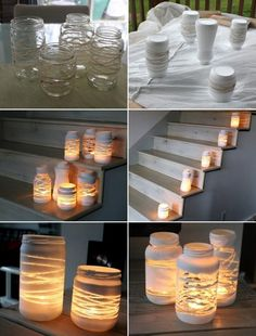 Deck decor craft diy candles, painted jars и jar lanterns Diy Candles, Candle Jars, Small Candles, Mason Jar Candle Holders, Glass Candle, Jar Lanterns, String Lanterns, Indoor Lanterns, Painted Jars