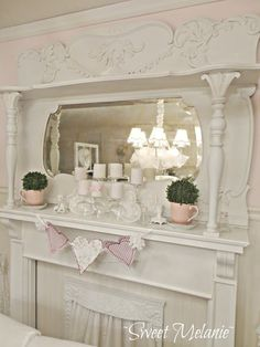 Mantel created from the top of a dresser.  I love it !(from Sweet Melanie)