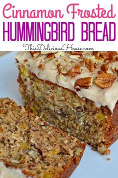 Delicious Hummingbird Bread is made with mashed bananas, crushed pineapple, shredded coconut, and chopped pecans, and is topped with a cinnamon cream cheese frosting. With all of these incredible flav Bread Machine Recipes, Quick Bread Recipes, Sweet Recipes, Cooking Recipes, Cooking Tips, Oven Recipes, Banana Bread Recipes, Chicken Recipes, Breakfast Bread Recipes