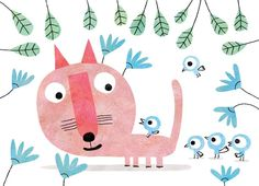 Pink cat and blue birds.