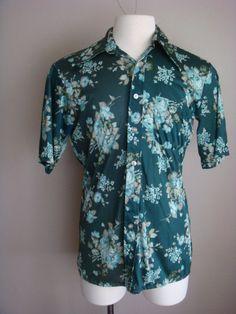 Vintage Mens Shirt Green Floral Short Sleeve by retrocorrect
