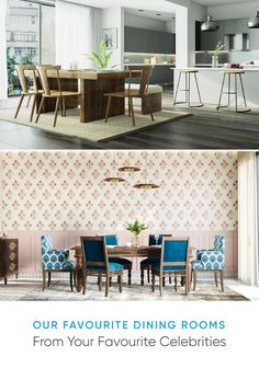 We Stole the Best Dining Room Ideas From Celeb Homes Reclaimed Wood Dining Table, Wall Trim, Natural Interior, Best Dining, Distressed Furniture, Celebrity Houses, Upholstered Chairs, Cool Wallpaper, White Walls