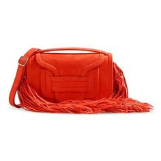 Pierre Hardy Suede Coral Fringe Clutch (71.280 RUB) ❤ liked on Polyvore featuring bags, handbags, clutches, orange, red suede handbag, coral purse, fringe clutches, suede clutches and fringe handbags