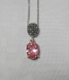 Pink Topaz Necklace with Marcasites  by EmbracingYesterday on Etsy, $90.00
