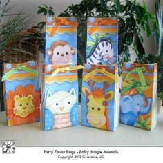 Printable Party Favor Bags  - Jungle, Safari, Zoo, Owl Theme - Baby Shower or Birthday Party Favors -Gina Jane Designs - DAISIE Company