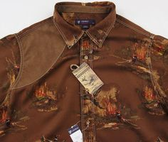 "Men's DANIEL CREMIEUX Brown Hunting Shirt ""Suede Leather"" L Large NWT NEW $95+ #DanielCremieux #ButtonFront"