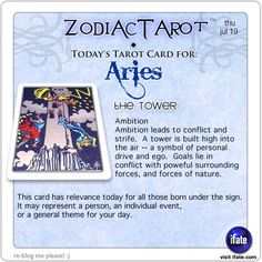 Daily tarot card for Aries from ZodiacTarot! Are you a fan of tarot cards?  If you are, this is the best of the free online tarot readings.  Visit iFate.com today! And for all today's ZodiacTarot cards, check out ZodiacTarot.com !