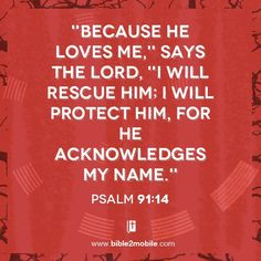 """Because he loves me,"" says the LORD, ""I will rescue him; I will protect him, for he acknowledges my name."" Psalm 91:14 #bible #bible2mobile #psalm #psalm91 #godword"