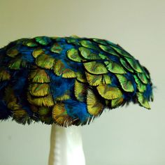 Vintage Peacock Feather Cocktail Hat - Gorgeous green velvet and peacock feather cocktail hat, by Jaccard.