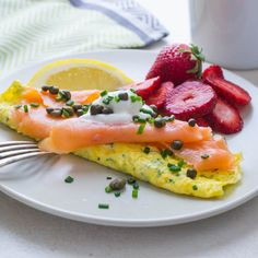 Quick, healthy & delish, this smoked salmon omelette is a great start to the day. An herb omelette embellished with buttery salmon, capers, chives & lemon. Smoked Salmon Omelette, Smoked Salmon Breakfast, Smoked Salmon Recipes, Brunch Recipes, Seafood Recipes, Snack Recipes, Seafood Meals, Egg Recipes, Smoker Cooking