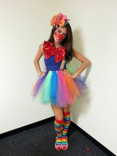 Homemade clown costume!! The fascinator and tutu were both made by my very crafty mom!!