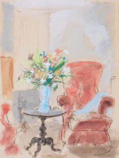 ANDRÉ DIGNIMONT (1891-1965) Intérieur au vase de fleurs. Gouache.